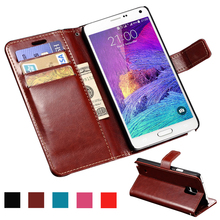 Wallet PU Leather Case For Samsung Galaxy Note 4 N9100 Coque Luxury Phone Bag Flip Cover Cases For Samsung Galaxy Note 4 TOMKAS(China)
