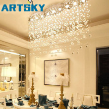 Modern Large Rectangular Curtain Wave Crystal Chandelier Lighting for Hotel Hall Dining Room Foyer Led Ceiling Lamp