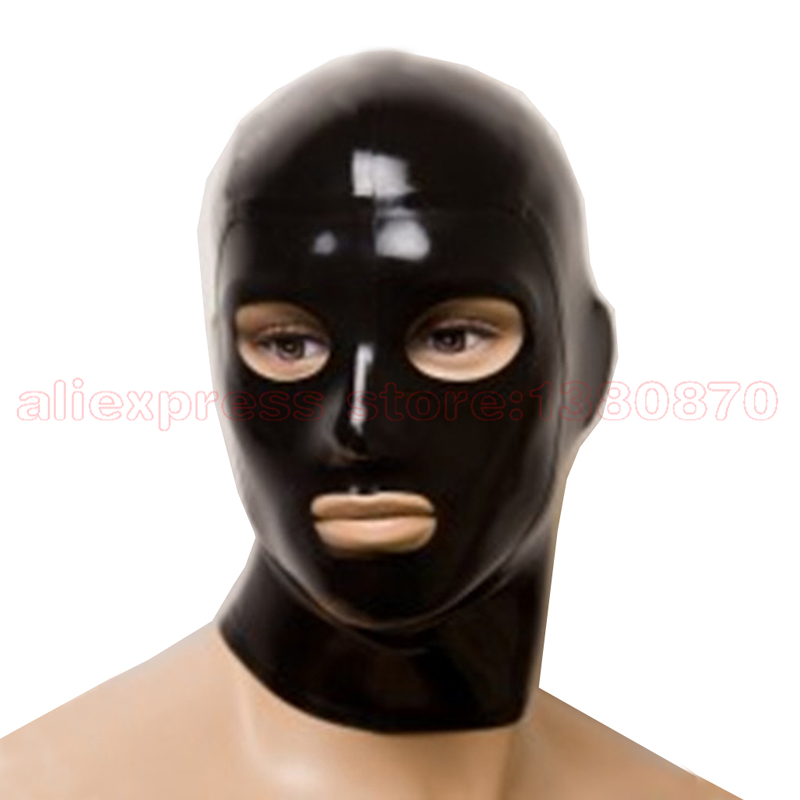 Mans Latex Hood Unisex Sexy Solid Black Rubber Latex Mask Eyes Mouth Nostrils Open S-LM075