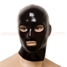 Buy Mans Latex Hood Unisex Sexy Solid Black Rubber Latex Mask Eyes Mouth Nostrils Open S-LM075