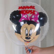 New cute Mickey Minnie transparent balloons Mickey Mouse 5pcs The ball in the ball Aluminum film ball Birthday party decoration(China)