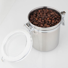 1 lbs large capacity stainless steel sealed cans / food storage jar spice tea leaf coffee beans candy tank Kitchen Tools(China)