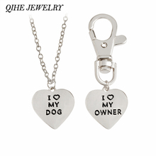 "QIHE JEWELRY 2pcs/set ""I love my dog,I love my owner"" Heart Charm Necklace And Collar Dog-Human Jewelry Dog Lover Gifts(China)"