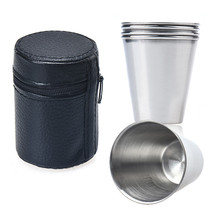 Set of 4 Stainless Stee Cup Drinking Coffee Tumbler Camping with Faux Leather Cover Sport Camping Travel wine cup D36JL13