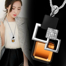 Fashion New Long Necklace&Pendant Classic Geometric Square Big Crystal Necklaces For Women Sweater Chain Accessories Jewelry