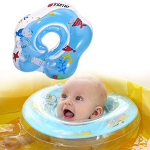 Muticlolor Inflatable Circle Newborn Infant Adjustable Swimming Neck Baby Swim Ring Float Ring Safety Double Protection for Baby(China)