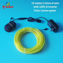 10 Colors choice 10Meter 5.0mm Neon wire Lighting EL Wire rope With driver By 220V Controller Used for House Night Party Decor(China)