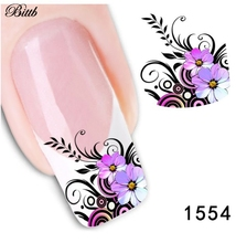 Bittb 2pcs Flower Design Nail Art Sticker Water Transfer Stickers  Beauty Nail Decal Nail Art Decoration DIY Foil Fingernail Tip