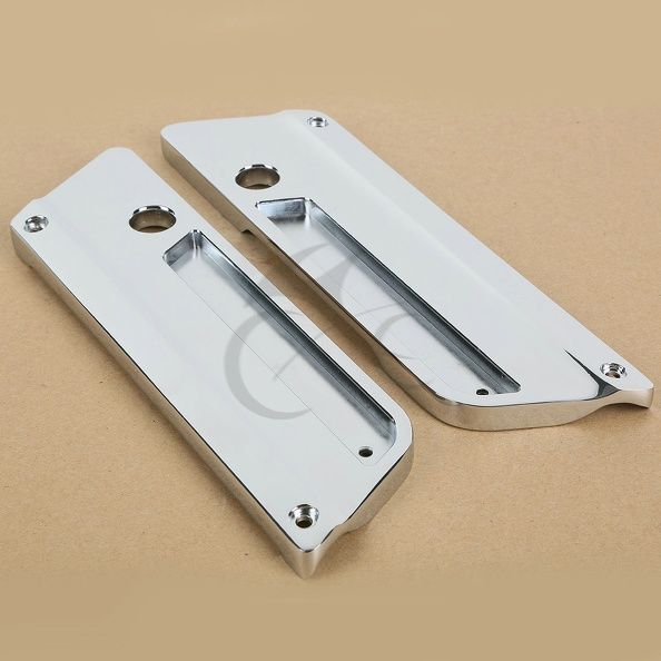 Metal Chrome Saddlebag Latch Covers for Harley Touring Road King Electra Glide<br>