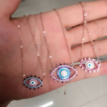 Rose gold big Black Braid Blue Enamel Purple zirconia Evil Eye Choker Necklace For Women Chocker gold Jewelry