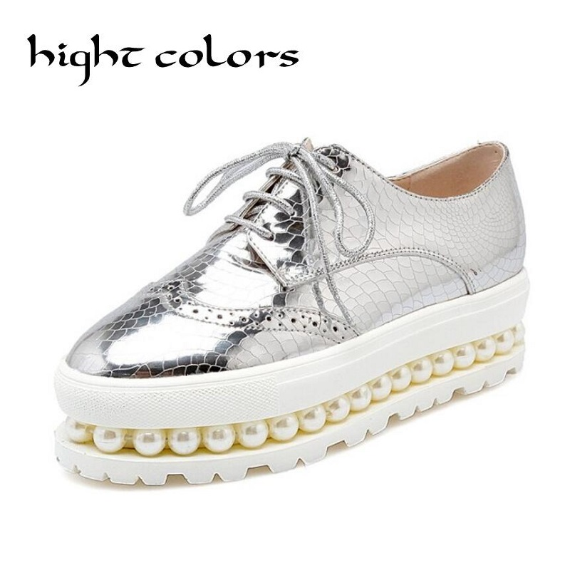 Street Star Shoes New Big Size Deep Mouth Thick Bottom Platform Shoes For Women Pearl Silver Pink Round Toe Women Brogue Shoes<br>