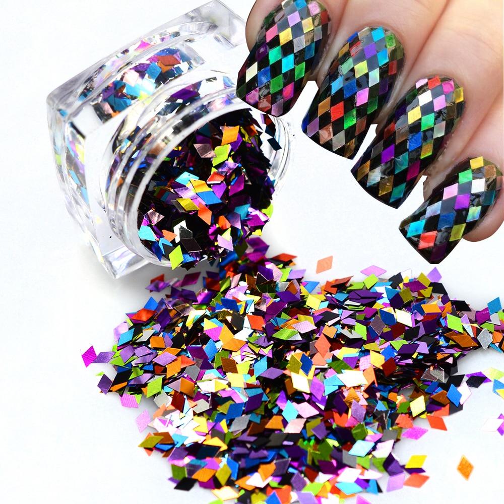 Nagelglitzer 1 Flasche Bunte Raute Paillette Glitter Nägel 3d Scheibe Pulver Set Diy Design Nail Art Pailletten Dekoration Zubehör Jind296