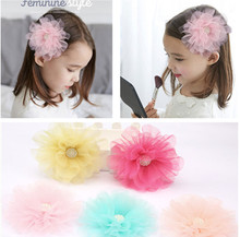 1 PC Big Chiffon Flower Pearl Girls' Hair Clips Kids Side Hairpin Accessories
