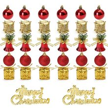 Top Selling 32pcs Christmas Ornaments Balls Drums Baubles Tree Pendant Home Party Decor Holiday Decoration
