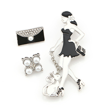 2017 New Arrival Pack of 3 Pieces Pretty Lady's Cat and Handbag Set Chain Brooch Pins