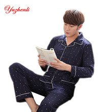 Yuzhenli Men Pajamas Sets Autumn Winter 100% Cotton Thick Long-sleeves V-neck Comfortable Pyjamas Suits Sleepwear Plus Size