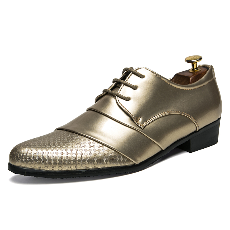 comfortable mens dress shoes luxury brand italian gold male footwear formal patent leather woven skin derby oxford shoes for men (3)