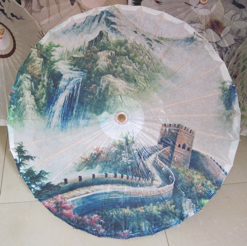 Free shipping Dia 84cm half wear rain-proof and sunshade umbrella ink painting the great wall oiled paper umbrella<br>