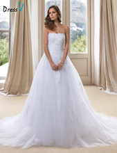 Hot Sale A-Line Strapless Wedding Dresses 2017 Elegant Appliques Sequins Chapel Train Lace-Up White Church Bridal Gowns 11290007(China)
