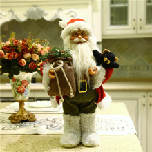 Christmas gift Dearsun brand hot decoration 1pc Santa Claus standing figure amazing excellent quality handicraft W22*H43cm(China)