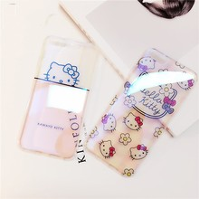Clear Glossy Blue Ray Hello Kitty Soft TPU Cover Case for iPhone 6 6s plus 7 7plus(China)
