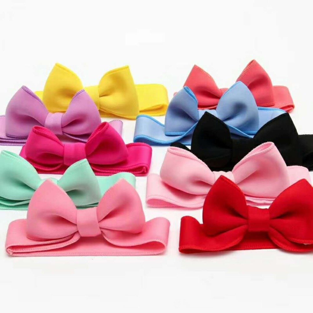 Fashion kids infant child girls head wraps tiara elastic ribbon headband satin big bows headwrap hair bands Accessories For Party (3)