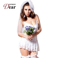 Comeondear Bride Sexy Costumes Bridal Lace Lingerie CK88058 White Bride Wedding Dress Sexy Lingerie Role Play Game Uniform(China)