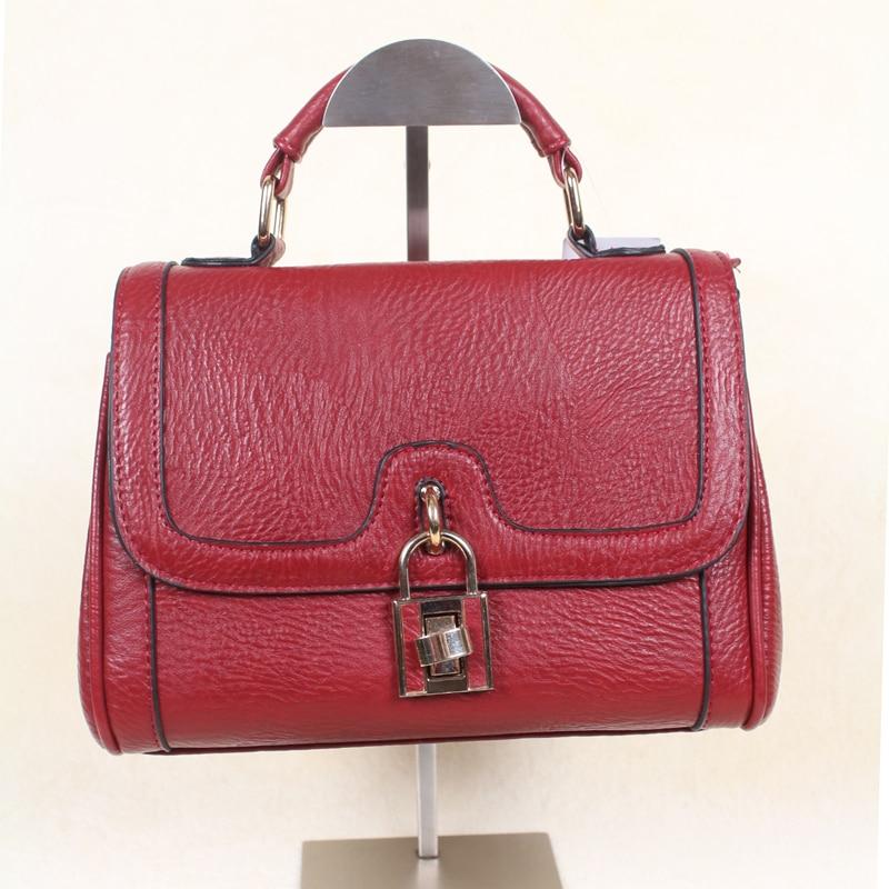 2017 new japan and korea style lock pu leather handbags girls soft pu leather darkred with belt crossbody menssenger bags<br><br>Aliexpress