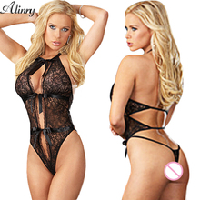 2017 Sexy lingerie hot women  black Perspective lace open bra crotch teddy sexy babydoll erotic lingerie lenceria sexy costumes