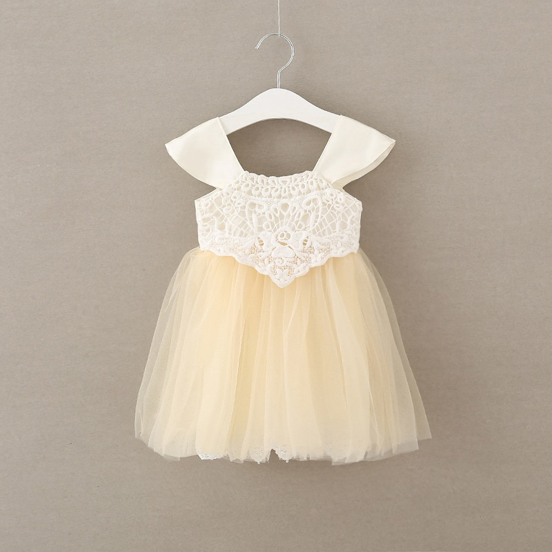 new girls summer dress beige fly sleeve baby girl princess dresses fashion cute kids party dress leak back princess dress<br>