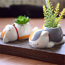 Nostalgia Friends of the cat cute teacher cartoon cute ceramic potted pots flower pots cartoon flowers vase home art decoration