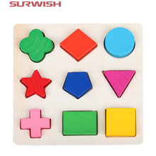 Surwish Wooden Educational Toys Learning Geometry Building Puzzle Montessori Method for Baby Kids