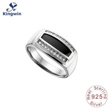 handcrafted 925 sterling silver rings black CZ zircon fine jewelry quality lady ring promise rhodium plating size 6(China)