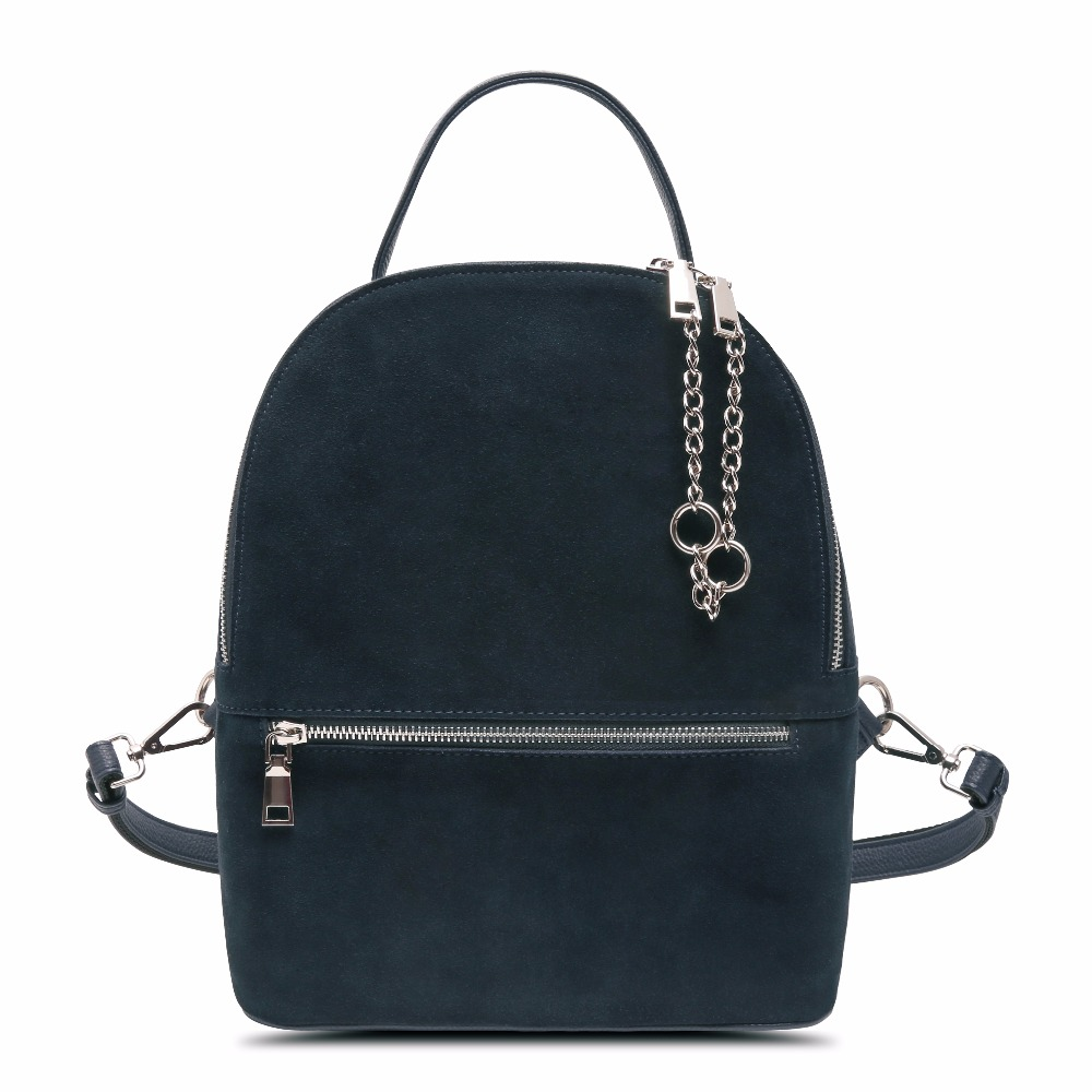 New Arrival Fashion Women Real Suede Leather BackPack Leisure Zipper Casual Chains Travel bag School Bag for Teenagers Girl <br>