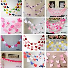 Pink White Gold Bunting Hanging Garland Valentine Birthday Party Wedding Shower Room Decoration Paper Heart String L40