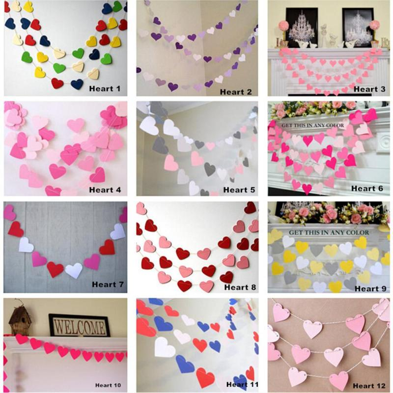 Pink White Gold Bunting Hanging Garland Valentine Birthday Party Wedding Shower Room Decoration Paper Heart String L40(China)