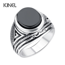 Hot 2015 Fashion Vintage Black Rings Men Jewelry 925 Sterling Silver Big Size Oval Resin Men's Ring Jewelry Wholesale Mixed Lot