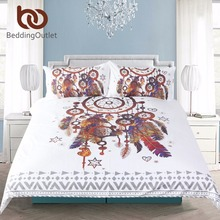 BeddingOutlet Hipster Watercolor Bedding Set Queen Size Dreamcatcher Feathers Duvet Cover Bohemian Printed Bed Cover 3 Pcs(China (Mainland))