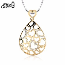 Effie Queen Unique Design Hollow Micro Heart Shape Water Drop Stainless Steel Necklaces&Pendants Birthday Gift for Gis IN21(China)