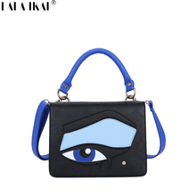 LALA IKAI Women Top-Handle Bag with Embroidery Cover Leather Shoulder Bags 2017 Ladies Messenger Bags Blue Fashion Bag BWB1338-5