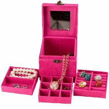Quickdone 1Pcs 3 Layers Jewelry Box Necklace Storage Organize Case Travel Makeup Suede Fabric Case with Mirror and Lock HG0488