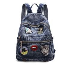 Women Backpack Hot Sale Fashion Causal bags High Quality Micro Chapter Female Shoulder Bag Denim Backpacks for Girls moch