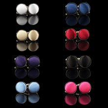 1Pair Mens Dress Round Cloth Cufflinks For Busines Shirt Wedding Party Men's Cufflink 8 Colors Cloth Round Cufflinks Wholesales