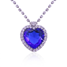 2016 Best The Movie Titanic Heart of the Ocean Necklaces & Pendants  Large Blue Crystal Heart Necklace Full Rhinestone Collares
