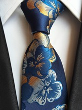2016 New Classic Floral Baby Navy Blue Gold White JACQUARD WOVEN 100% Silk Men's Tie Necktie - zixuan wang's store