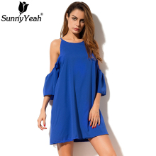 Buy SunnyYeah Casual Loose Dress Chiffon Summer Style 2018 Blue Shoulder Ladies Sexy Dress Clothing Jurken Robe Femme Vestidos for $13.92 in AliExpress store