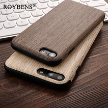 Roybens Fashion High Quality Soft Silicone Leather Skin Wood Case For iPhone 7 Plus iPhone 8 Case Natural Wooden Back Cover Bag(China)