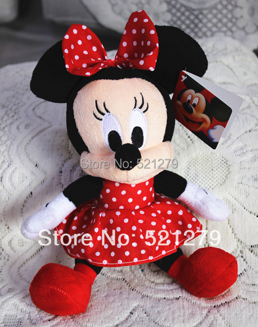 2017 new 1pcs 28cm=11inch Minnie mouse plush soft toys,red color,best birthday gift for daughter&girls(China (Mainland))