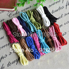 Free shipping 50M 2.7mm mixed color flat string Korea velvet imitation Leather Cords Ropes Lines Wires DIY Jewelry Accessories(China)