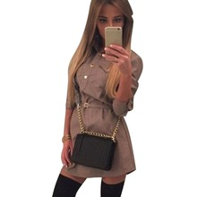 Dresses Women Long Sleeve Elegant Slim Mini Shirt Dress Summer Vestido Without Belt